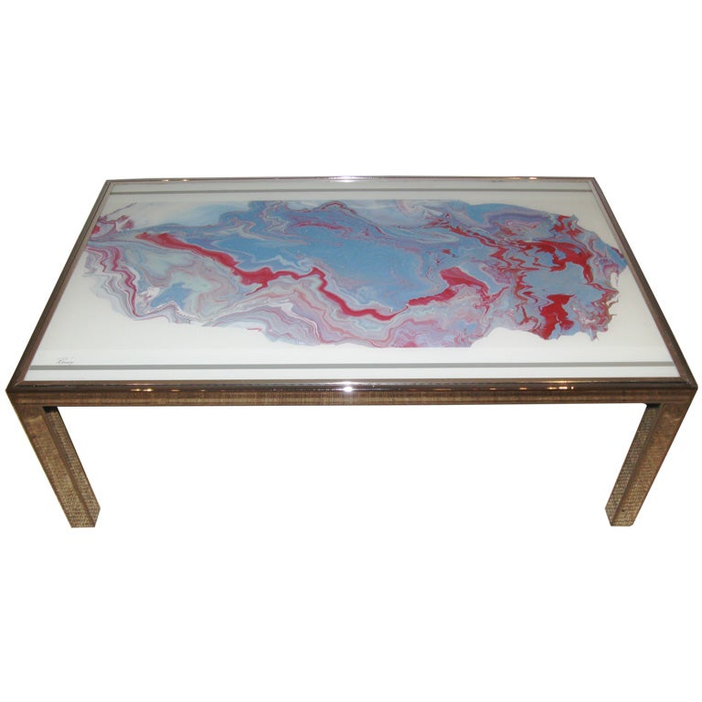Faux Hand Painted Agate And Chrome Coffee Table At 1stdibs