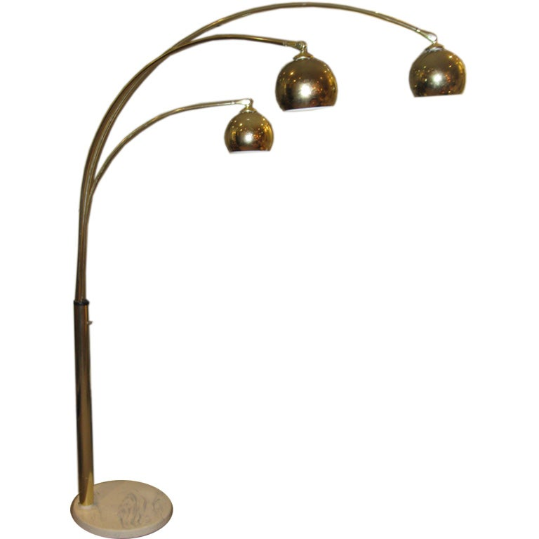 Brass Three Arc Lamp Standing Lamp With Stone Base At 1stdibs