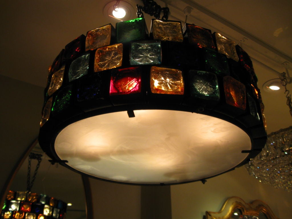 Large round chandelier with mulit colored glass cubes at 1stdibs mexican large round chandelier with mulit colored glass cubes for sale arubaitofo Gallery