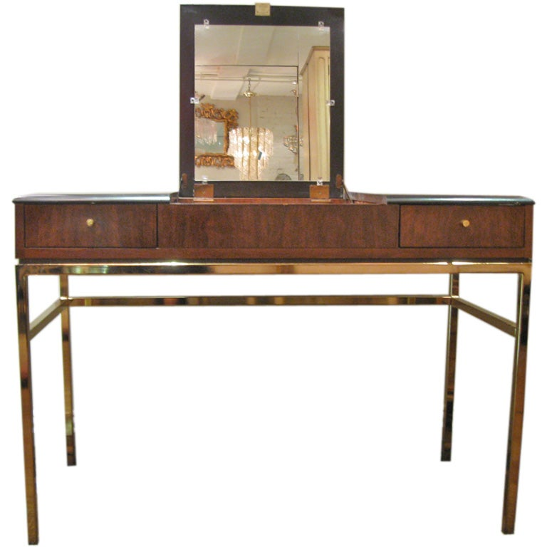 Black and Rosewood Wood Vanity / Desk, by Drexel
