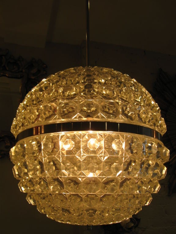 Single Cut Glass Globe Chandelier image 2