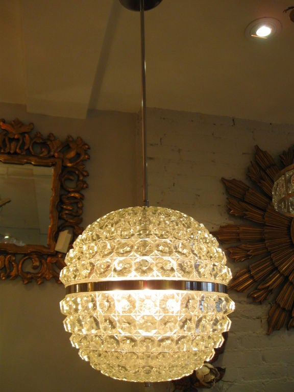 Single Cut Glass Globe Chandelier image 3