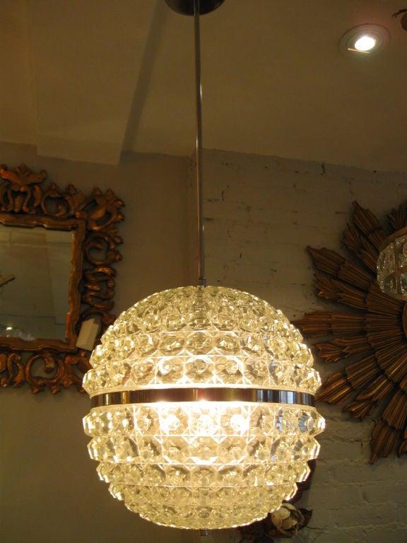 Single Cut Glass Globe Chandelier 3