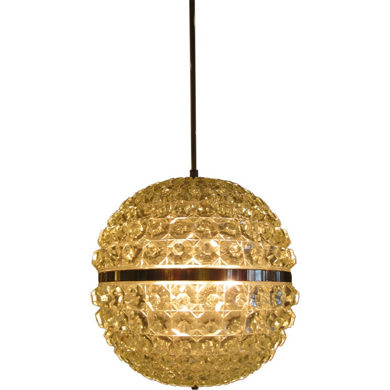 Single Cut Glass Globe Chandelier