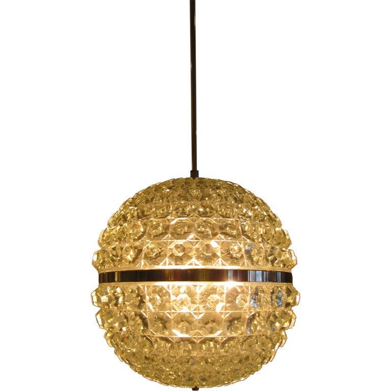 Single Cut Glass Globe Chandelier 1