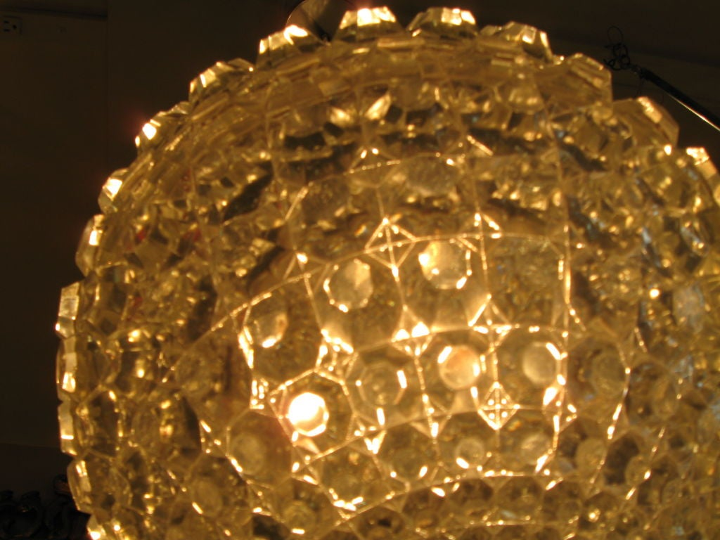Single Cut Glass Globe Chandelier image 4