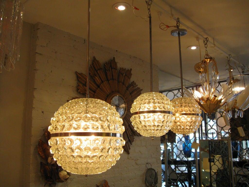 Single Cut Glass Globe Chandelier 6