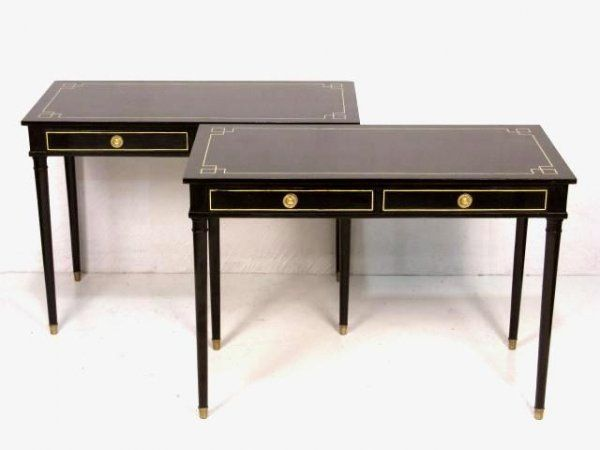 black writing desks Morris 48 chocolate brown writing desk $49900 types of desks corner or l-shaped: while black or white painted wood brings the material into modernity.