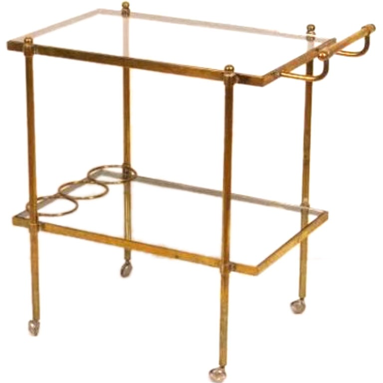 Jansen Bronze And Glass Tea Bar Cart At 1stdibs