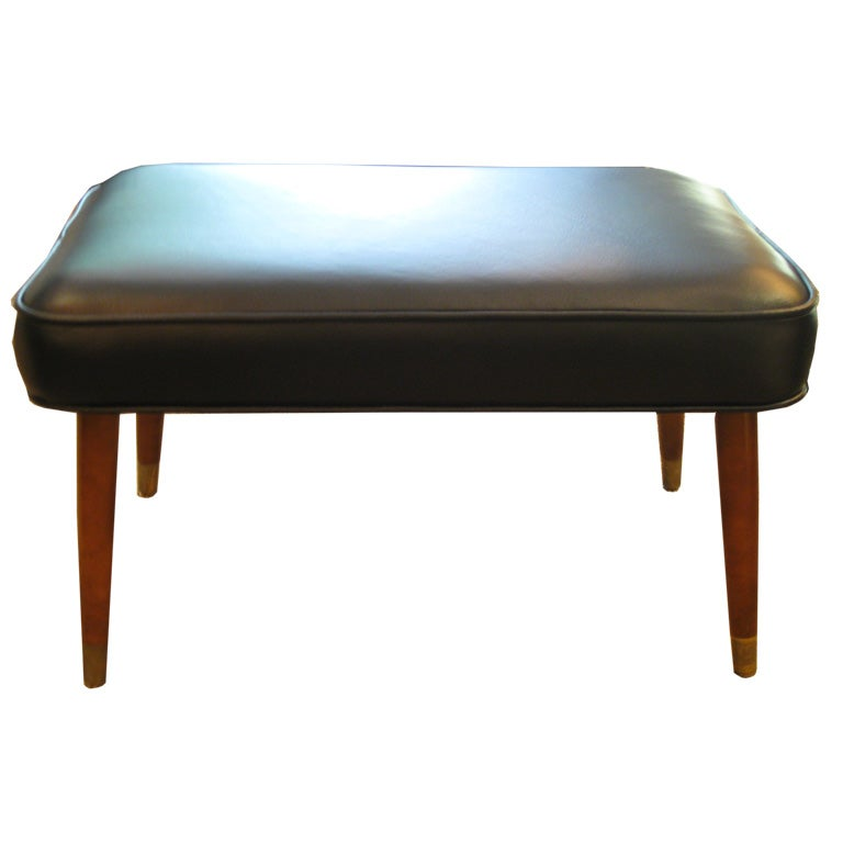 Black Leather And Teak Bench At 1stdibs