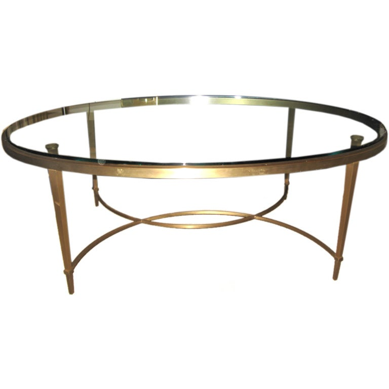 Bronze and glass oval coffee table at 1stdibs Glass oval coffee tables
