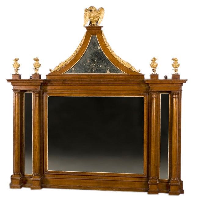 Italian Neoclassical Style Mahogany and Parcel Gilt Mirror