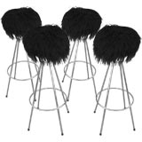 A Set of Four Barstools w/ Mongolian Wool Seats
