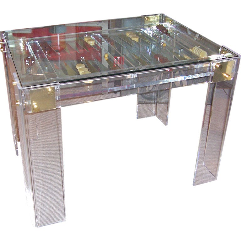 an incredible lucite backgammon table. Black Bedroom Furniture Sets. Home Design Ideas