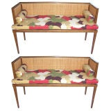 A Pair of Caned Benches by Baker