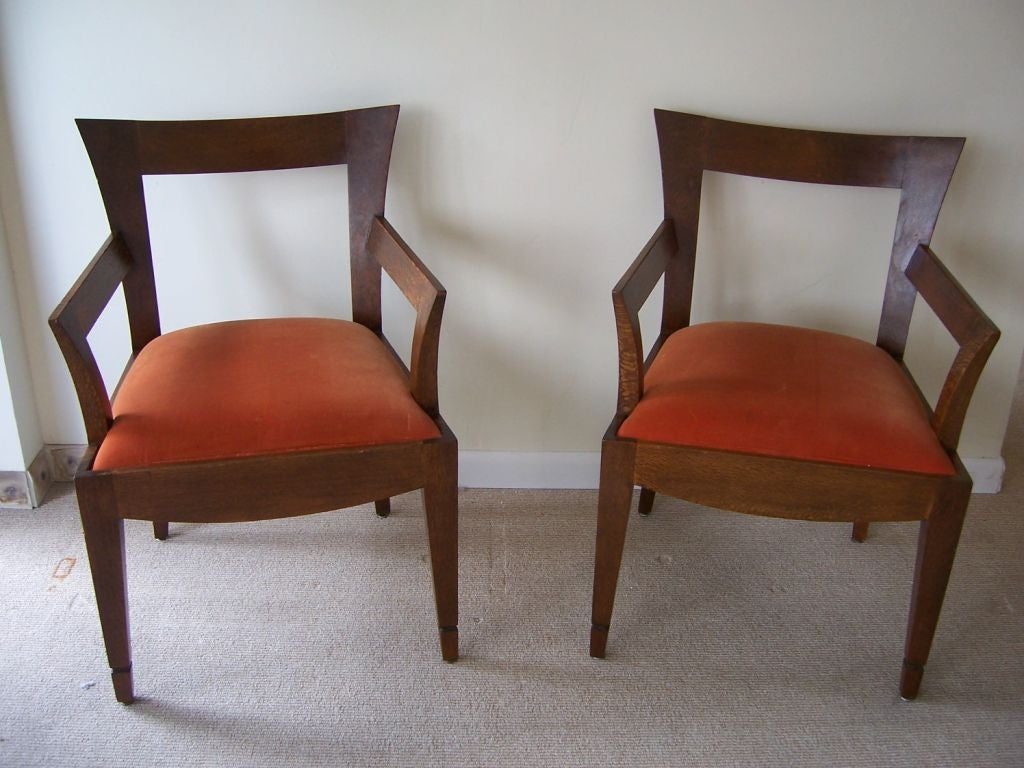 Velvet Pair of Vintage Italian Wood Armchairs '2 Pair Available' For Sale