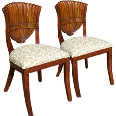 Antique Crest Back Mahogany Chairs, Pair