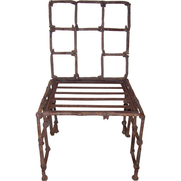 an iron rail road spike chair at 1stdibs
