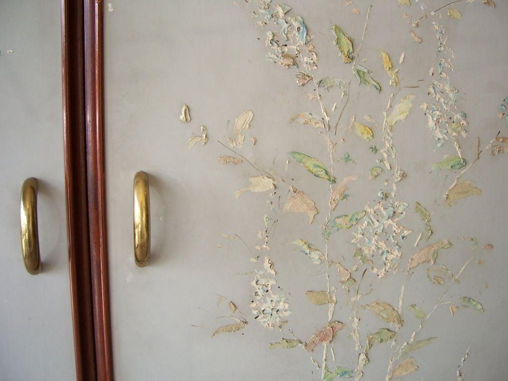 Art Deco Rare Osvaldo Borsani Floral Painted Foyer Cabinet For Sale