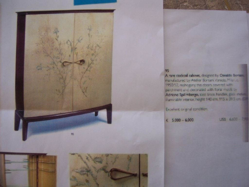Mid-20th Century Rare Osvaldo Borsani Floral Painted Foyer Cabinet For Sale