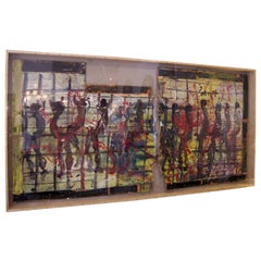 Oversized Art Work by Purvis Young in a Shadow Box