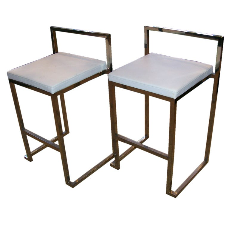 Set Of Six 6 Steel Frame Barstools At 1stdibs