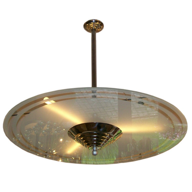 Art Deco Style Frosted Glass Disc Light Fixture At 1stdibs