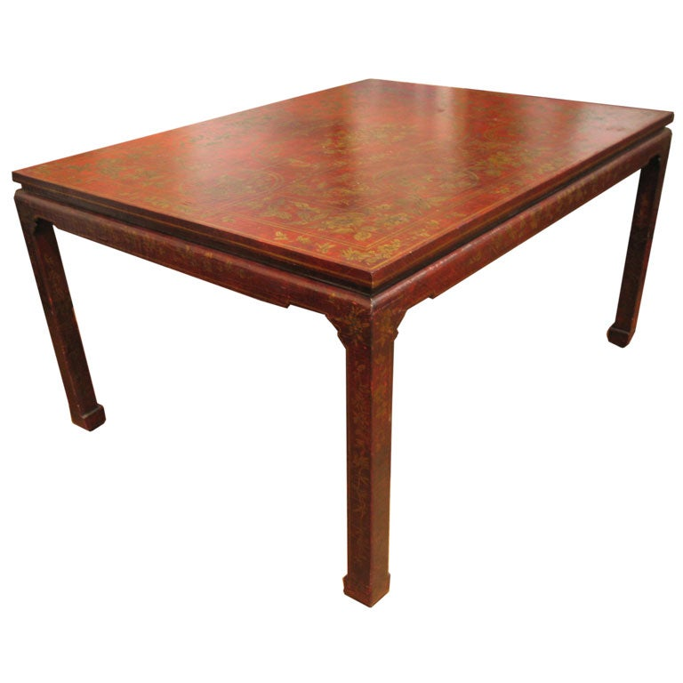 Oriental style lacquer chinoserie table desk at 1stdibs for Oriental style desk
