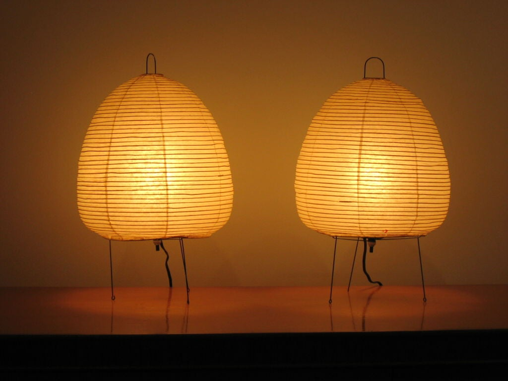 Pair of Vintage Akari Table Lamps by Isamu Noguchi image 2