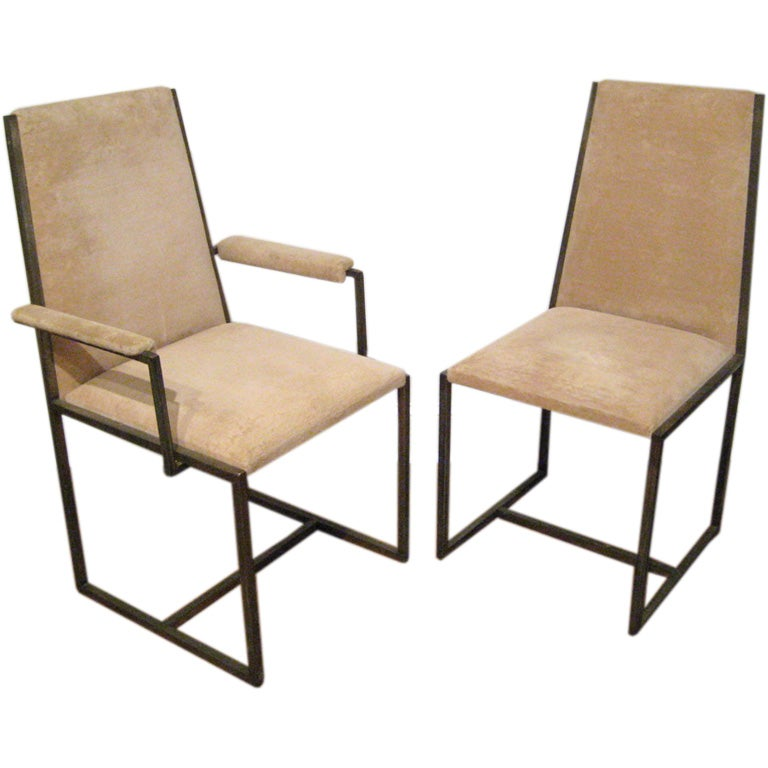 six milo baughman style high back brass dining room chairs