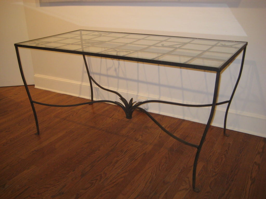 Metal and glass garden dining table attributed to for Metal glass dining table