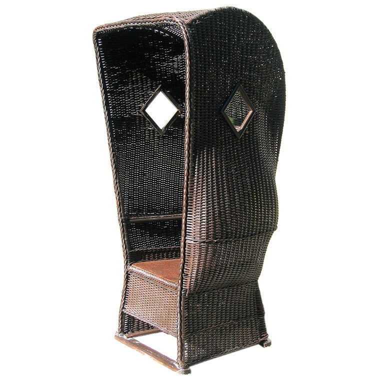 Rare Wicker Hooded Beach Chair At 1stdibs