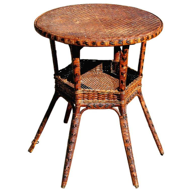 Rattan End Table At 1stdibs Square Glass Dining Room
