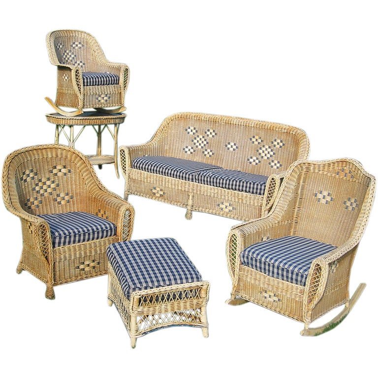 6 piece art deco wicker set at 1stdibs for Art deco living room chairs
