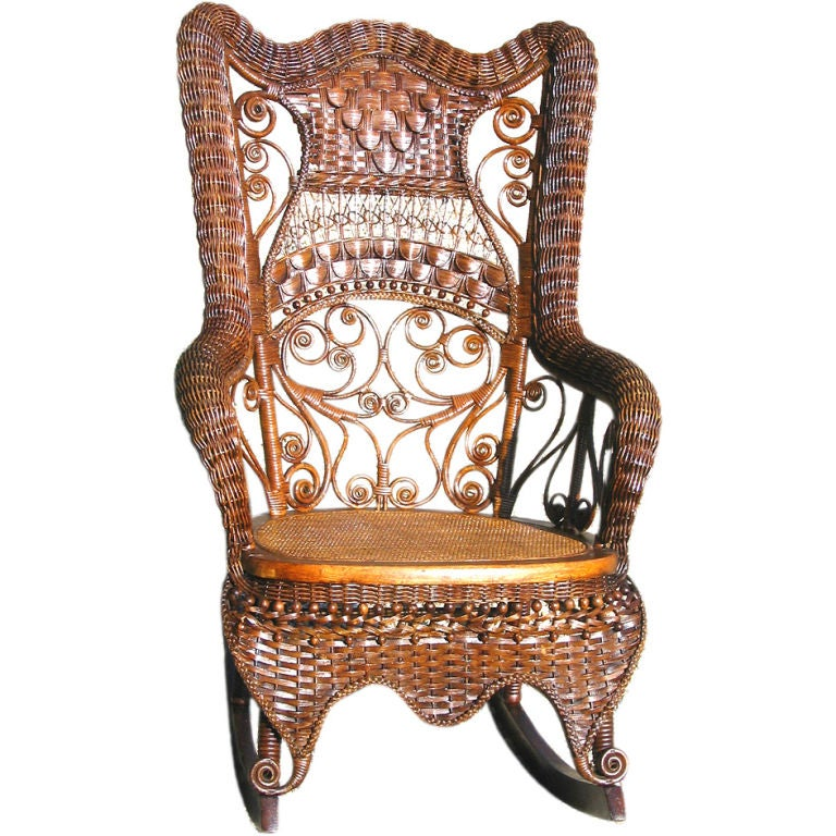 Fancy Victorian Wicker Rocking Chair At 1stdibs