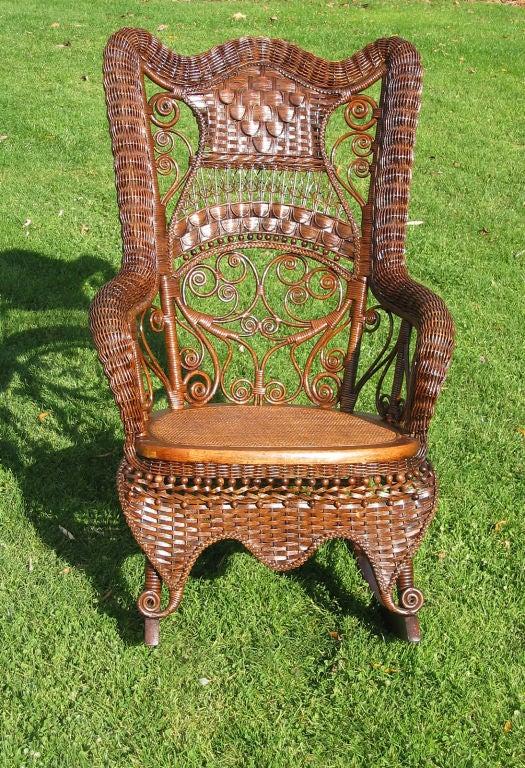 Fancy Victorian Wicker Rocking Chair At 1stdibs