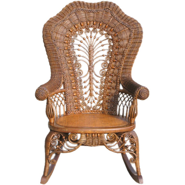 Captivating VICTORIAN WICKER ROCKING CHAIR At 1stdibs