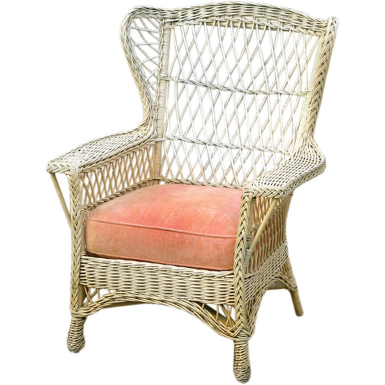 1960s Missoni Wingback Chair At 1stdibs: BAR HARBOR WICKER WING CHAIR At 1stdibs
