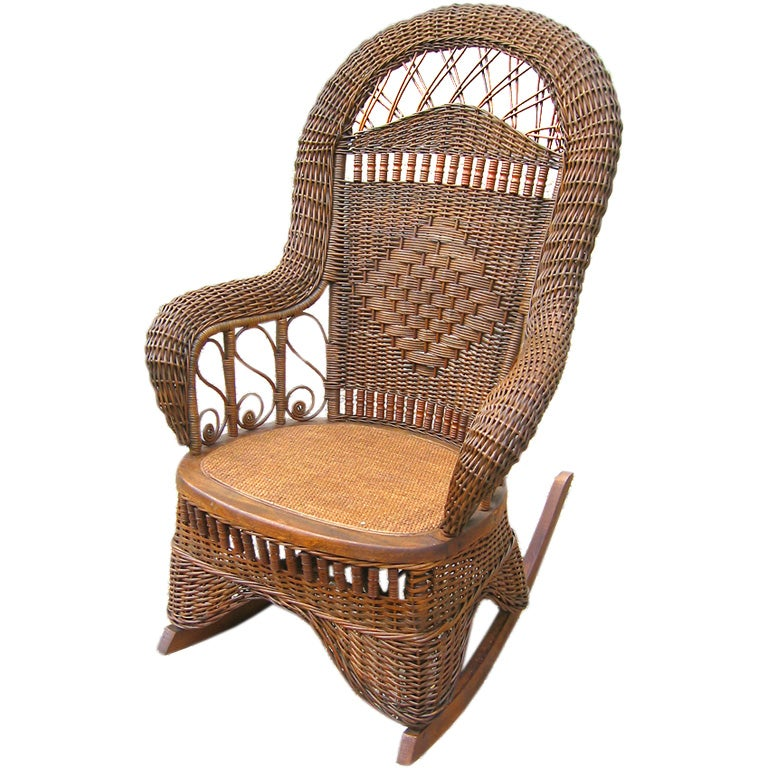 Exceptional VICTORIAN WICKER ROCKING CHAIR At 1stdibs