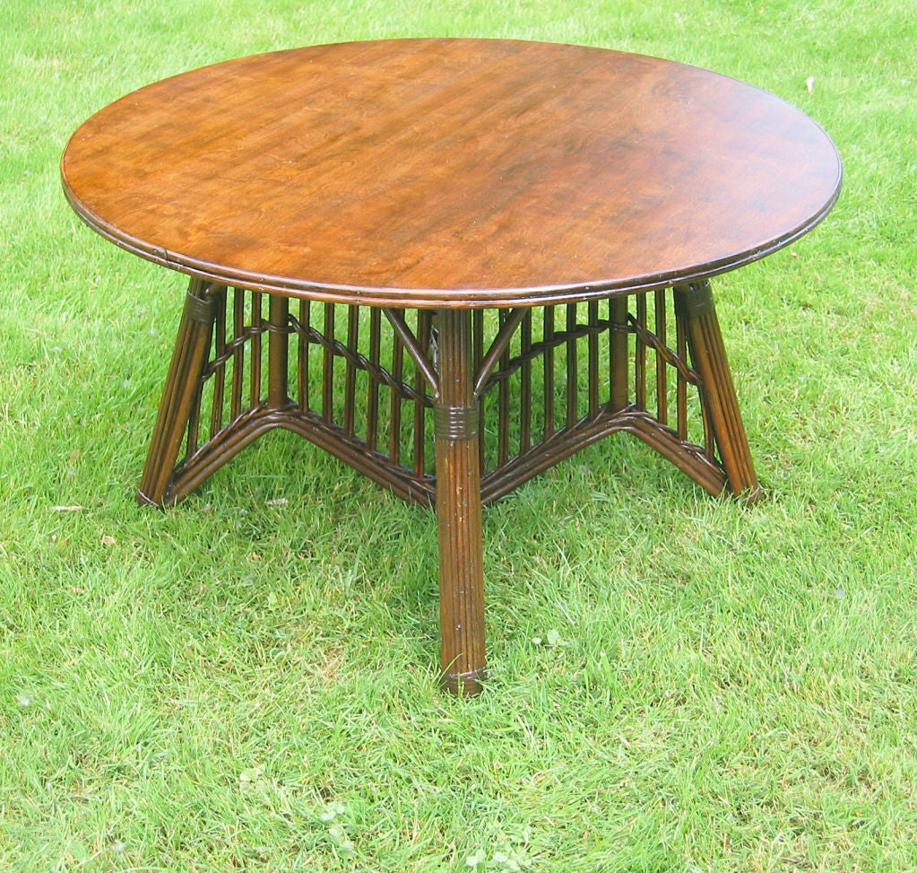 Round Stick Wicker Coffee Table At 1stdibs