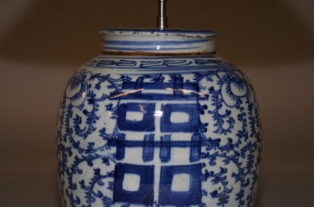 chinese blue and white ginger jar lamp at 1stdibs. Black Bedroom Furniture Sets. Home Design Ideas