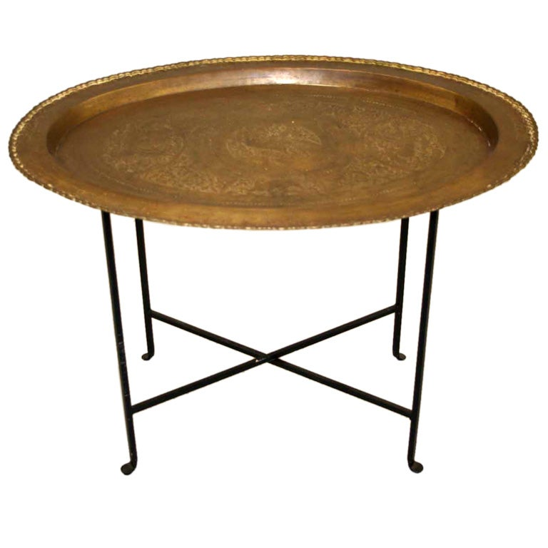 Oval Brass Tray Table On Metal Base At 1stdibs
