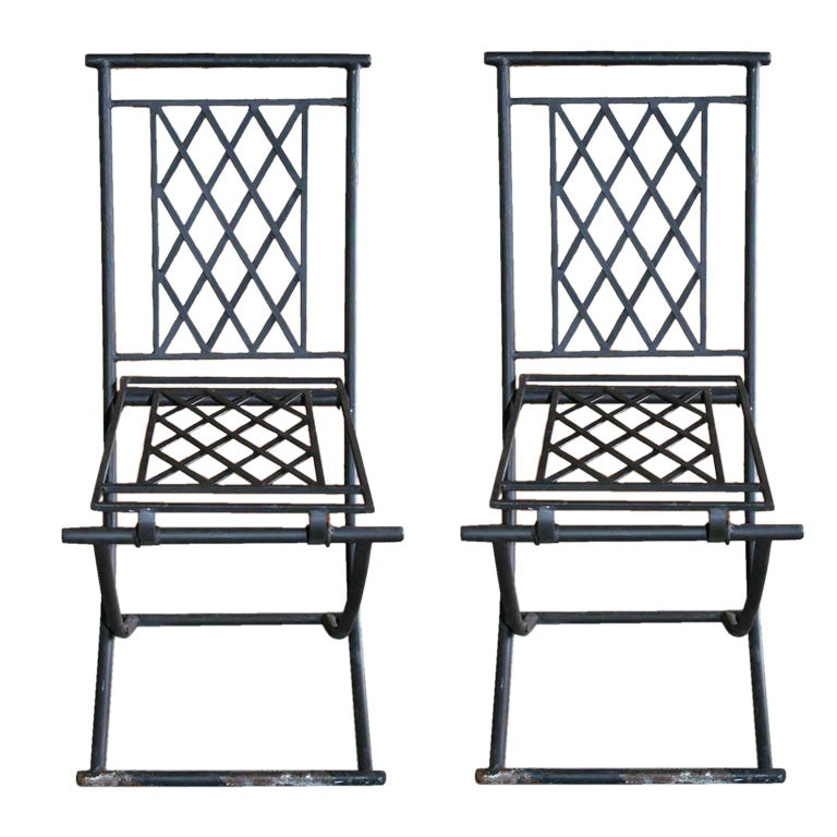 4 Indoor Or Outdoor Folding Metal Chairs At 1stdibs