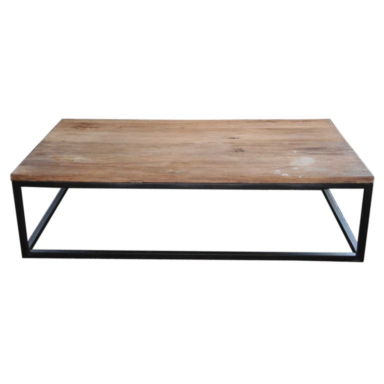 Elm wood top metal base coffee table at 1stdibs for Best wood for coffee table