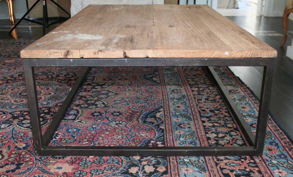 Elm wood top metal base coffee table at 1stdibs for Metal coffee table base