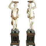 A Rare Pair of Neapolitan Papier Mache Figures on Plinths