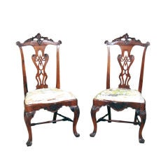 An Important Pair of Portuguese Rococo Rosewood Side Chairs