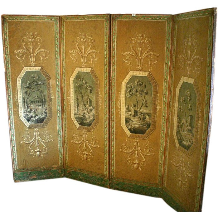 A Four Panel Neoclassical French Screen