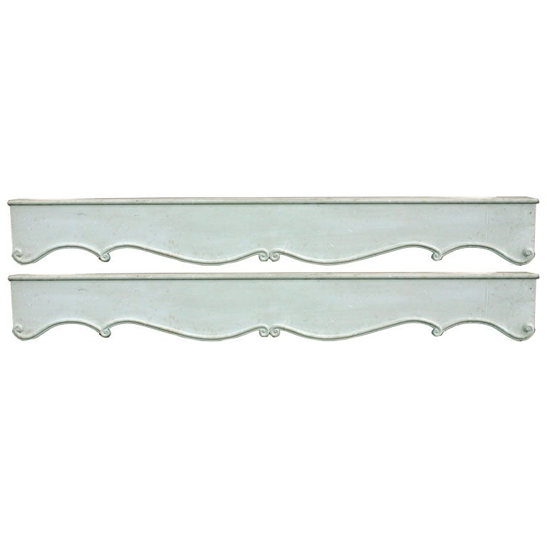 A Pair of Grey Painted Neoclassical Style Valances