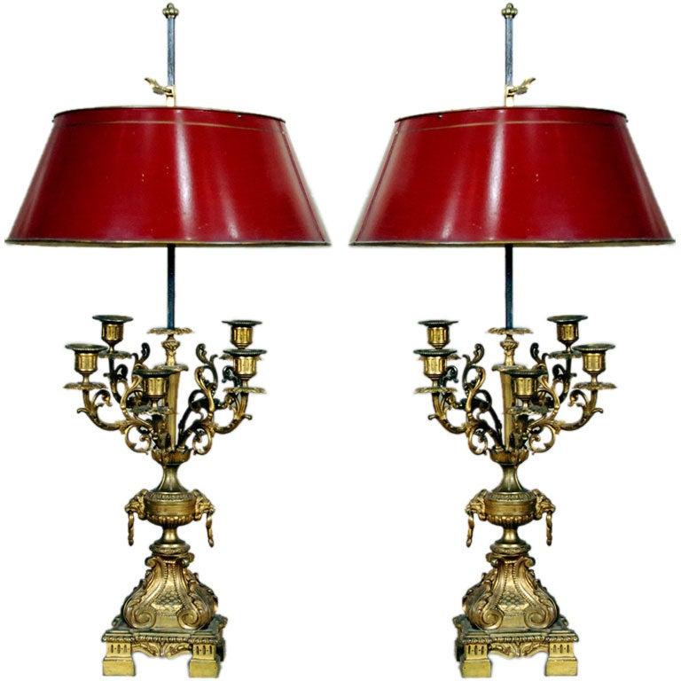 A Fine Pair of Rococo Gilt Bronze Five Arm Bouillote Lamps